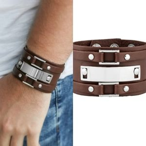 Mens silver and leather bracelet